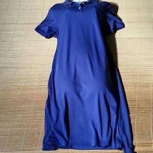 NWOT. Land's End Blue Cotton Shirtdress. L